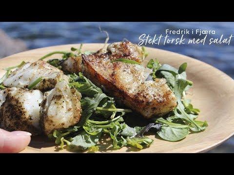 Stekt torsk med salat