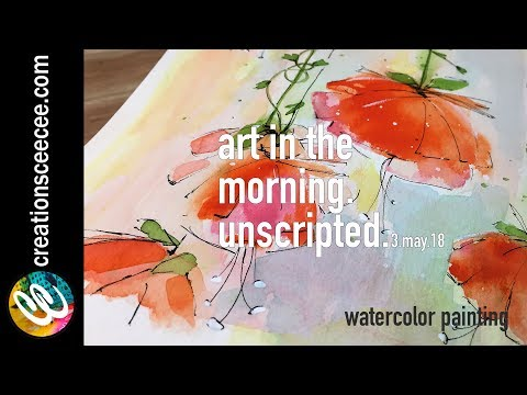 watercolor painting : floral with flat brushes