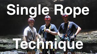 Single rope technique when caving