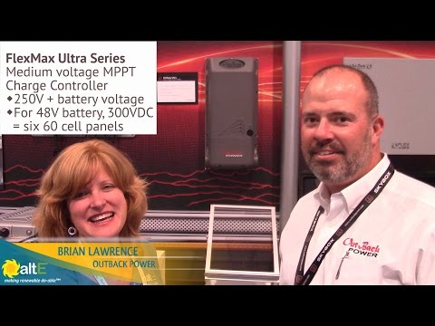 Outback Power talks with altE's Andrea to introduce their future medium voltage MPPT solar charge controller, the FlexMax Ultra. The unit is capable of managing up to 6000 watts of solar panels on a 48V battery bank. The medium voltage charge controller ca