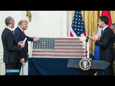 Bert geeft historische D-Day-vlag aan Trump: 'Belangrijk moment' - RTL NIEUWS