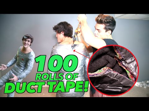 WRAPPED IN 100 ROLLS OF DUCT TAPE!! (100 layers CHALLENGE)