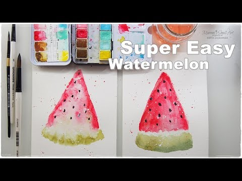 Super Easy Beginners Watercolor Watermelon for Kids ♡ Maremi's Small Art ♡