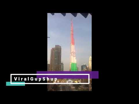 Indian flag in dubai burj khalifa