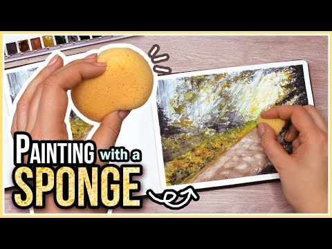 How to Paint a Landscape with Watercolors using a Sponge // Art Journal Thursday