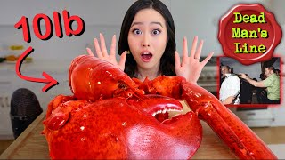GIANT 10 POUND LOBSTER MUKBANG! Seafood Boil + Butter Sauce!