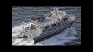 Aluminum catamaran workboat - YouTube