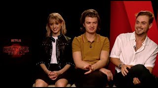 STRANGER THINGS interview with Natalia Dyer, Joe Keery and Dacre Montgomery (Nancy, Steve and Billy)