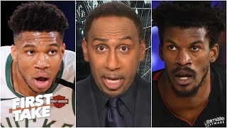 Stephen A. calls out Giannis: 'Why didn't you ask to guard' Jimmy Butler? | First Take
