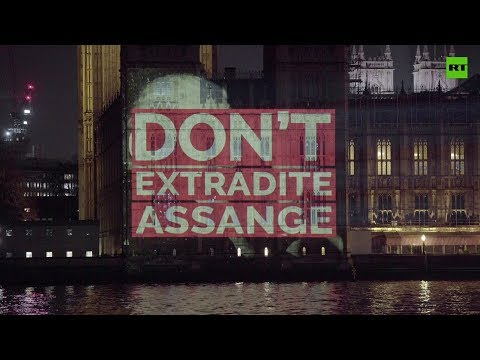 Baghdad killings video projected onto UK parliament in support of Assange