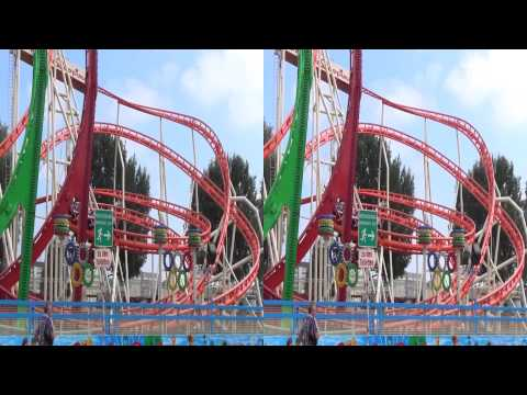 Olympia Looping at the Rheinkirmes 2013 - 3D (On-/Offride)