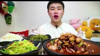 [Flower pig]꽃돼지 낚지볶음에 반찬 한식먹방 [korean food]mukbang Eating show