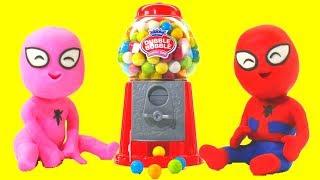 SPIDERMAN BABIES & GUMBALL MACHINE ❤ Hulk Superhero & Frozen Elsa Play Doh Cartoons For Kids