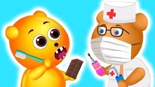 Mega Gummy Bear Dental Care Teeth Hurt | The Finger Family Cartoon for Children