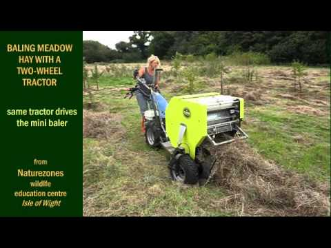Baling Meadow Hay With A Two Wheel Tractor From