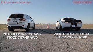 Hellcat Jeep vs Hellcat Challenger Widebody Street Drag Race