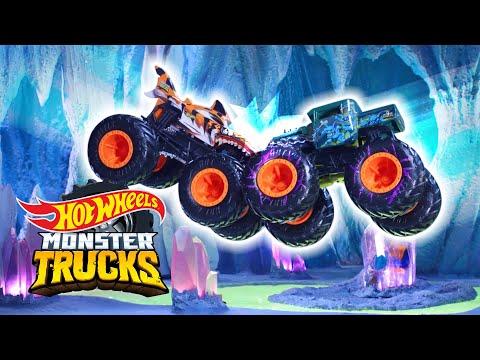 @Hot Wheels    The CRYSTAL CAVERN BASH💥   Monster Trucks Island