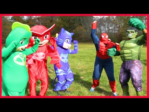 PJ Masks Villain Romeo Steals Hero Owlette and Catboy Superpowers and Turns into Batman Romeo IRL