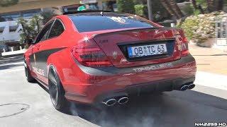 Mercedes C63 AMG by TIP Exclusive Doing Burnouts  Revs in Monaco!