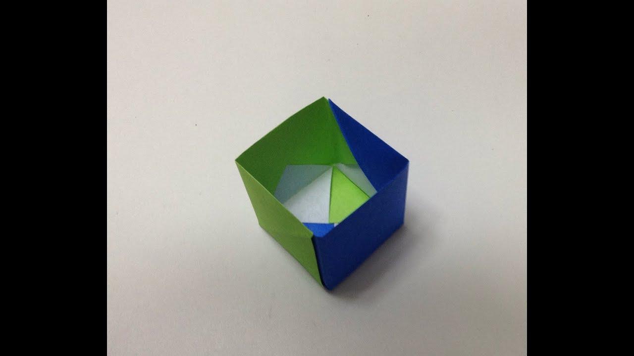 折り紙 底が深い箱 折り方 ...