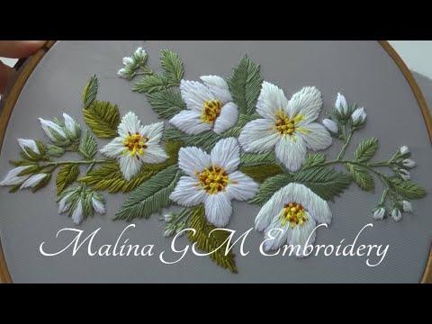 Jasmine Flowers |Hand Embroidery |Satin Stitch |pattern