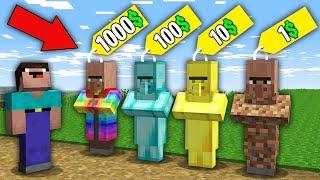 Minecraft NOOB vs PRO:WHICH RAREST VILLAGER WILL NOOB BOUGHT FOR 1000$ VS 100$ VS 10$ VS 1$?trolling