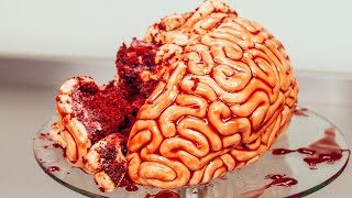 How To Make A  BRAIN CAKE! Red velvet cake, fondant and raspberry jam!