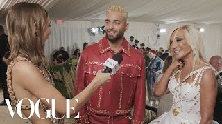Donatella Versace & Maluma on Their Bedazzled Met Outfits | Met Gala 2021 With Emma Chamberlain