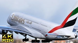 【4K】Amazing!! Close Takeoff Emirates A380 800 [A6-EOB]@Schiphol