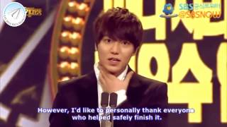 [ENGSUBBED] HD Lee Min Ho Won Top Excellence Award 'SBS Drama Awards 2012'