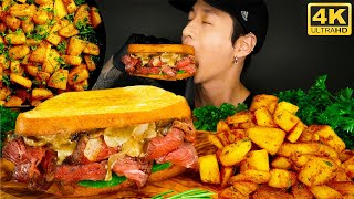 ASMR STEAK & CHEESE SANDWHICH MUKBANG 먹방 | COOKING & EATING SOUNDS | Zach Choi ASMR