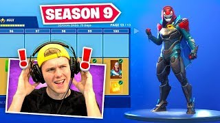 *NEW* SEASON 9 BATTLEPASS In Fortnite (100% UNLOCKED)