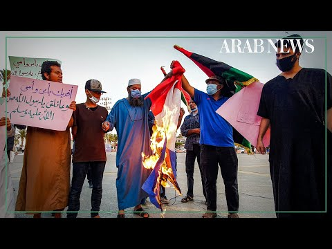 Libyans burn French flags, Macron pictures