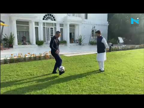 Union Minister Anurag Thakur shows off his football skills with FIFA CEO