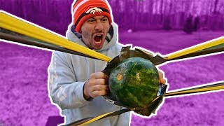 WORLD'S LARGEST RUBBER BAND SLINGSHOT vs. FRUIT NINJA!!
