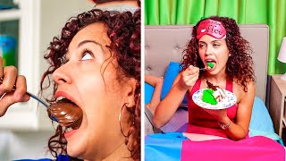 WHEN FOOD IS YOUR BFF || Sneaking Food in Class and Other Food Tricks by 123 GO! GOLD