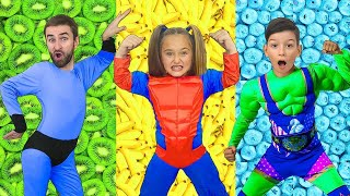 Sasha and Fruit Superhero Rescue Mission with Healthy food