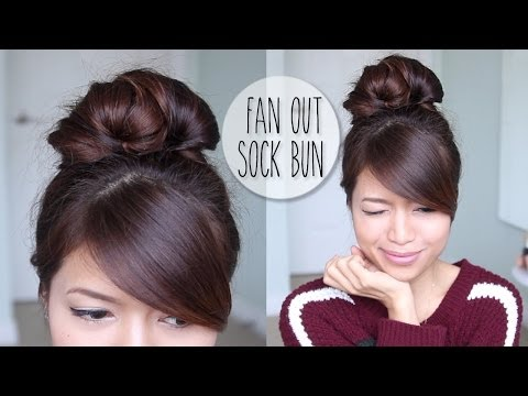 Everyday Fan Sock Bun Updo Hairstyle For Long Hair Tutorial - Smashpipe Style