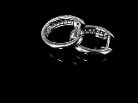 Browns Family Jewellers Curved Diamond Hoop Earrings