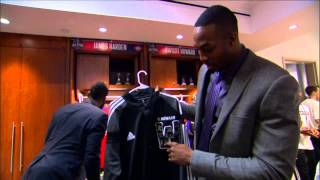 Dwight Howard Jokes with James Harden and LeBron James in All-Star Locker Room
