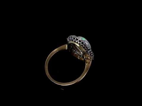 Browns Family Jewellers Diamond And Opal Ring