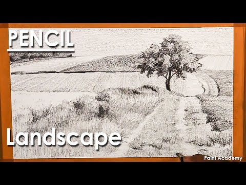 Pencil Drawing Landscape : Country road through the Agricultural Land