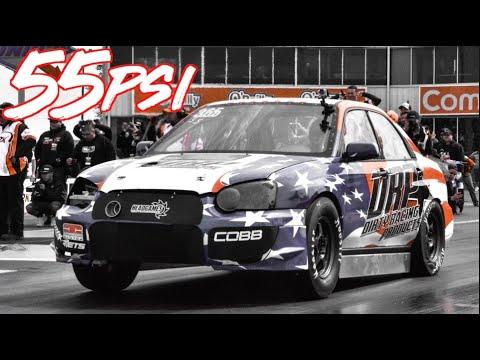 1100HP Subaru WRX on 55psi Slamming Gears - 8 Second Subaru!