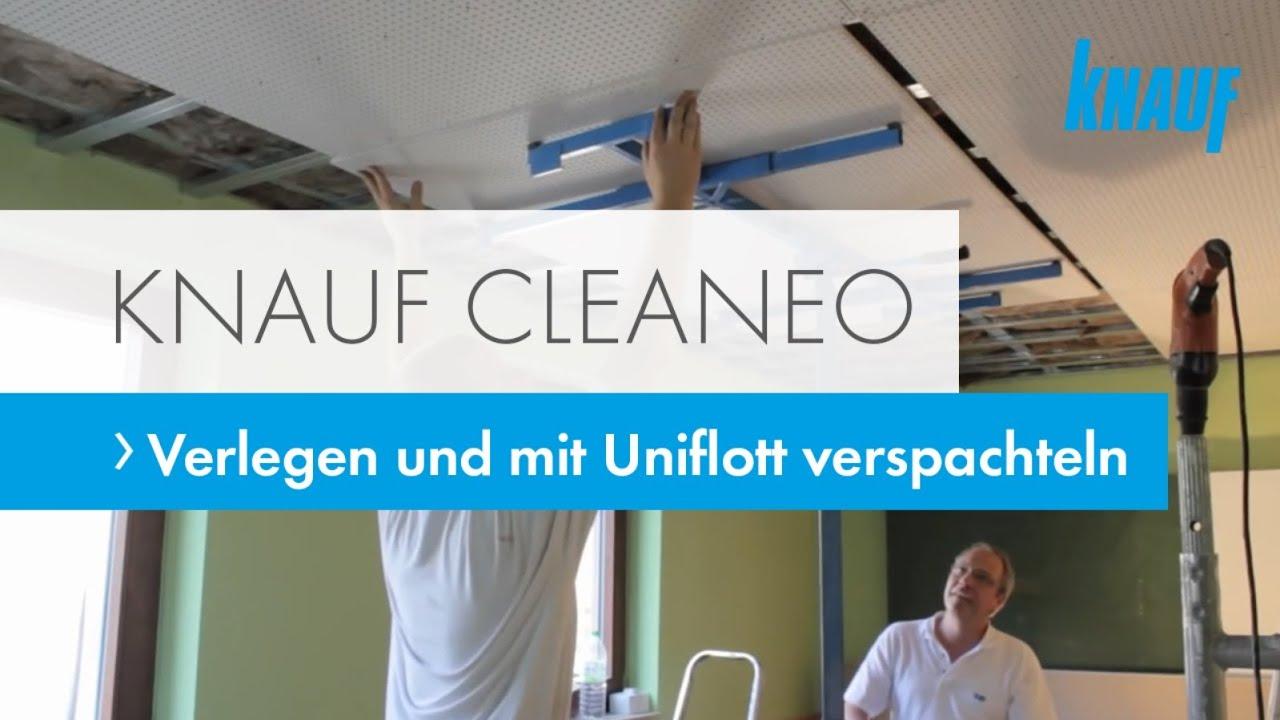 cleaneo akustik decken verlegen und mit uniflott verspachteln youtube. Black Bedroom Furniture Sets. Home Design Ideas