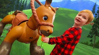 Surprise! Adley RIDES SPIRIT the Horse for Christmas!!