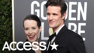 'The Crown's' Claire Foy & Matt Smith Wear Matching Black Outfits At Golden Globes | Access