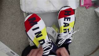 PHARRELL WILLIAMS BBC HUMAN RACE NMD SHOES ON FOOT