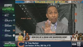 """Stephen A. Smith on """"How big of a draw are Warriors now?"""""""