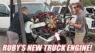"""Finding the Auction Corvette a """"NEW"""" Junkyard Truck Engine! (Super Cheap!)"""
