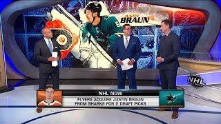 NHL Now:  Justin Braun:  Flyers acquire Justin Braun from thr Sharks  Jun 18,  2019